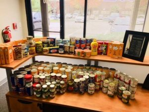 $100.00 and 175 pounds of food donated